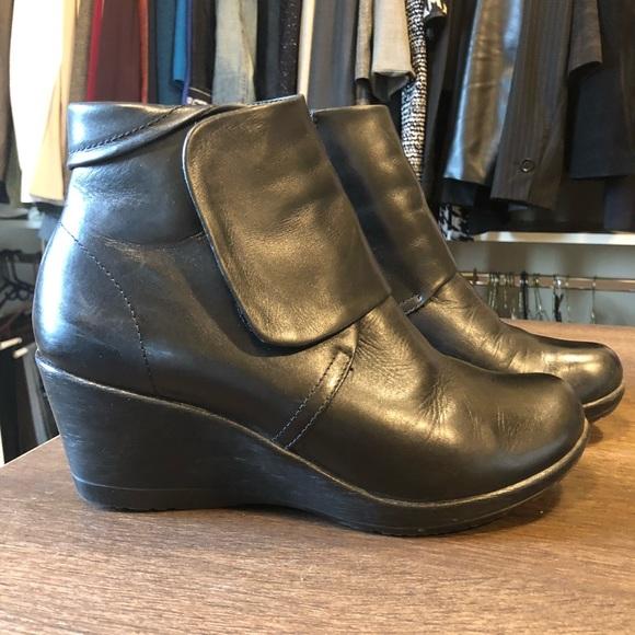 Dansko Black Leather Wedge Booties